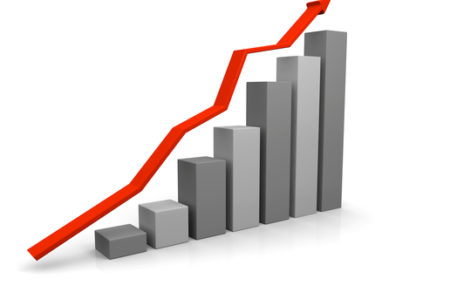 3D illustration of growth chart with red trend line